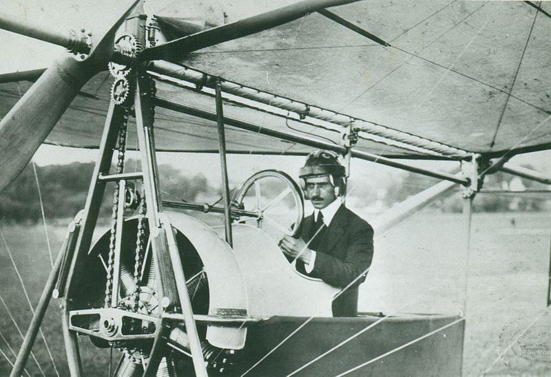 Aurel Vlaicu and the aircraft he built in the hangar at Polizu, Vlaicu II